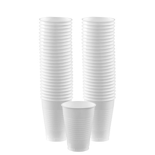 White & Silver Plastic Tableware Kit for 50 Guests Image #5