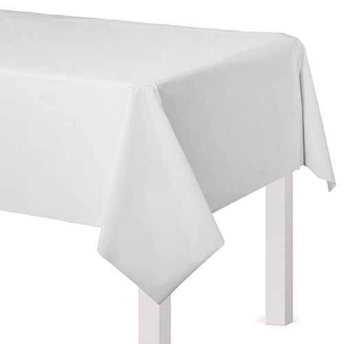 White & Silver Plastic Tableware Kit for 50 Guests Image #7