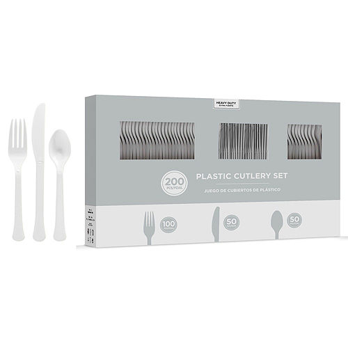 White & Silver Plastic Tableware Kit for 50 Guests Image #8