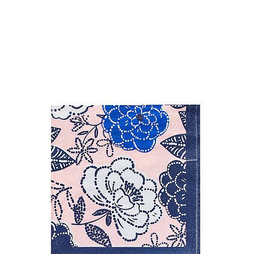 Royal Blue Floral Beverage Napkins 16ct Image #1