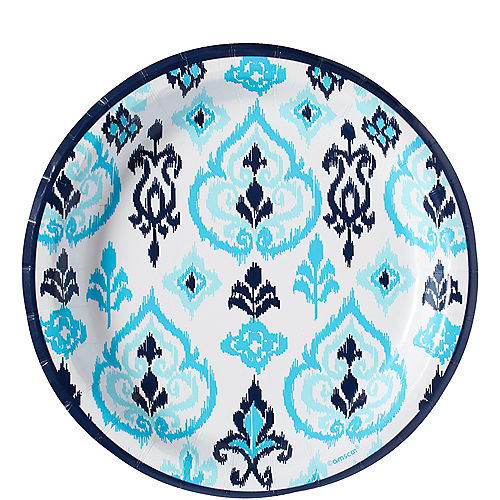 Caribbean Blue Ikat Lunch Plates 8ct Image #1