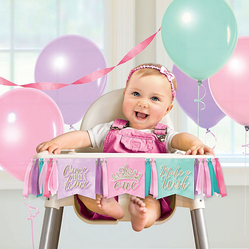 Disney Once Upon a Time 1st Birthday High Chair Pennant Banner Image #1