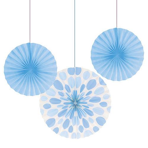 Pastel Blue Paper Fan Decorations 3ct Image #1