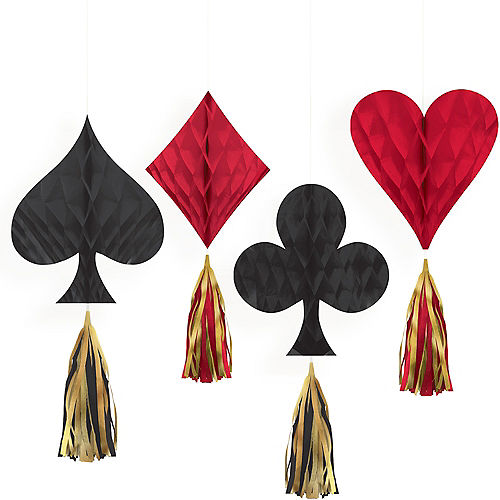 Mini Roll the Dice Casino Honeycomb Decorations with Tails 4ct Image #1