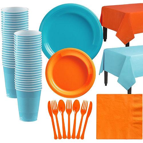 Big Party Pack Carribean Blue & Orange Tableware Kit Image #1