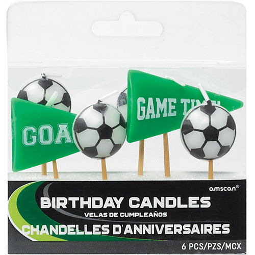 Goal Getter Green Soccer Birthday Candles 6ct Image #1
