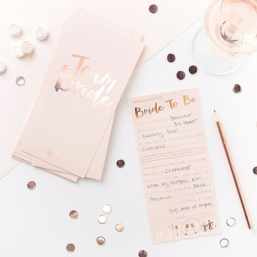 Ginger Ray Metallic Rose Gold & Pink Bride-to-Be Advice Cards 10ct Image #1