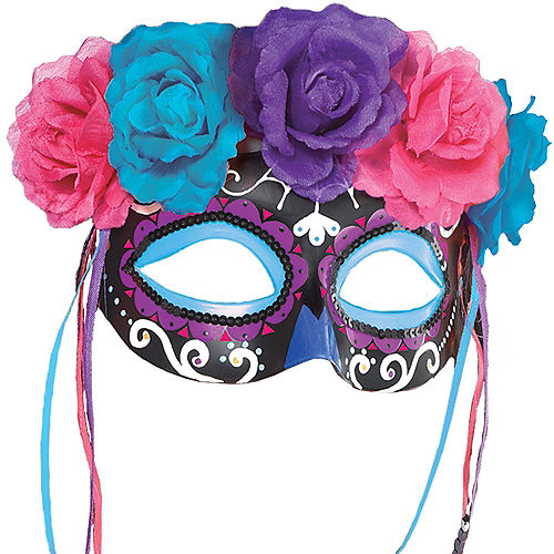 Neon Day of the Dead Mask with Flowers Image #1