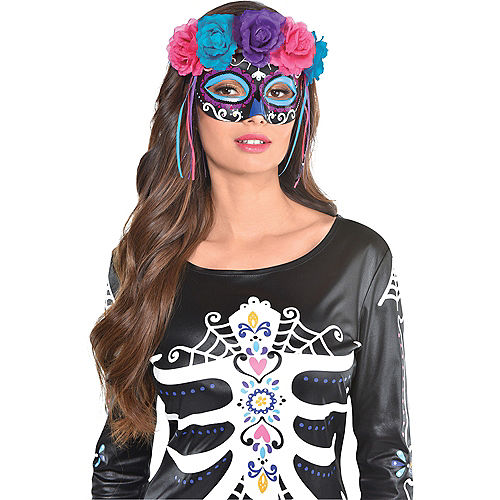 Neon Day of the Dead Mask with Flowers Image #2