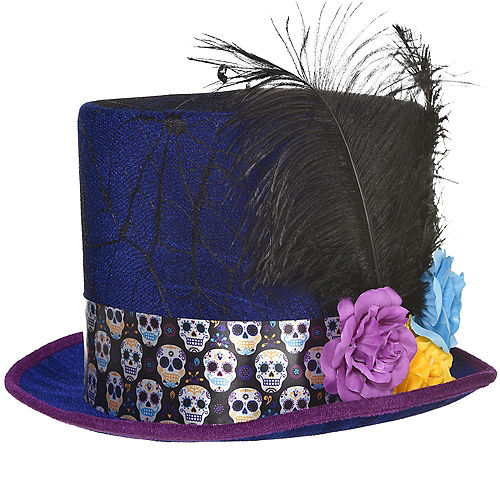 Neon Day of the Dead Tall Top Hat Image #1