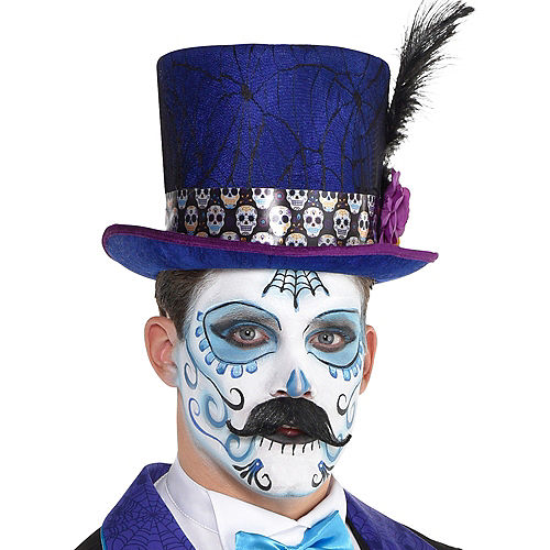 Neon Day of the Dead Tall Top Hat Image #2