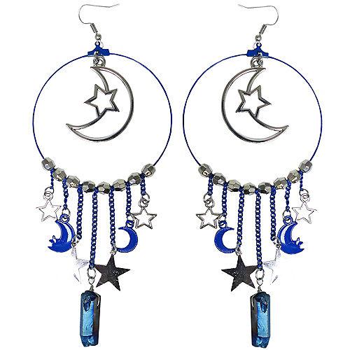 Silver Moon Hoop Earrings Image #1