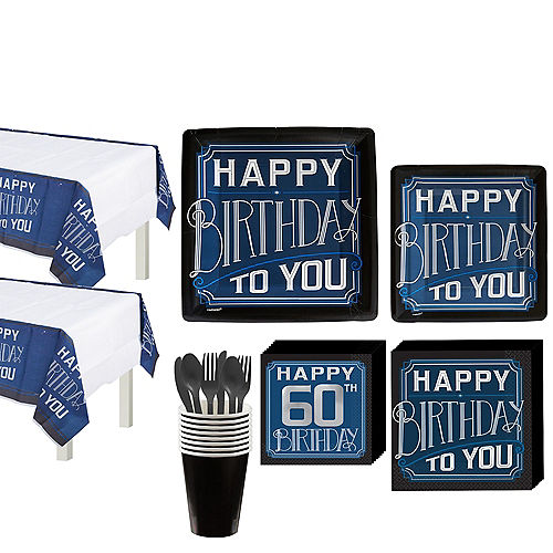 Vintage Happy Birthday 60th Birthday Party Kit for 16 Guests Image #1