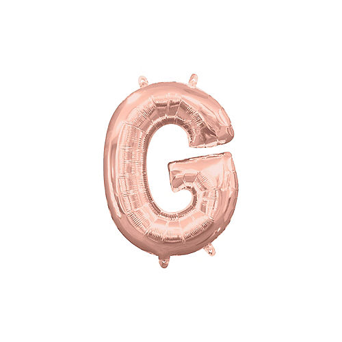 13in Air-Filled Rose Gold Letter Balloon (G) Image #1