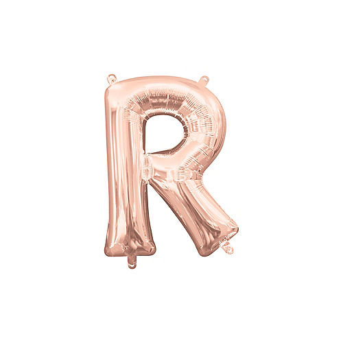 13in Air-Filled Rose Gold Letter Balloon (R) Image #1