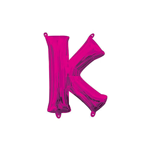 13in Air-Filled Bright Pink Letter Balloon (K) Image #1
