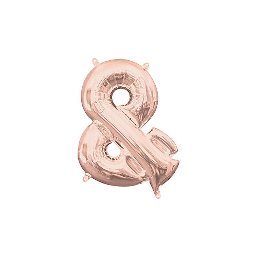 Air-Filled Rose Gold Ampersand (&) Symbol Foil Balloon, 14in Image #1