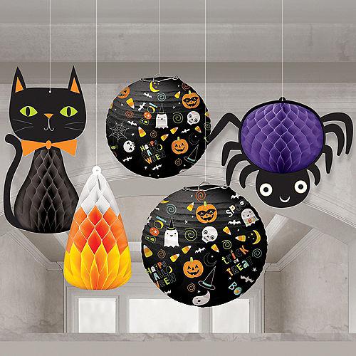 Friendly Halloween Honeycomb Decorations & Paper Lanterns 5ct Image #1