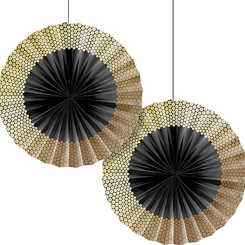 Black & Gold Sequin Paper Fan Decorations 2ct Image #1