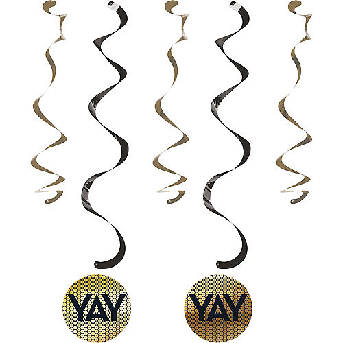 Black & Gold Sequin Swirl Decorations 5ct Image #1