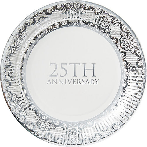 Metallic Silver 25th Anniversary Lunch Plates 8ct Image #1