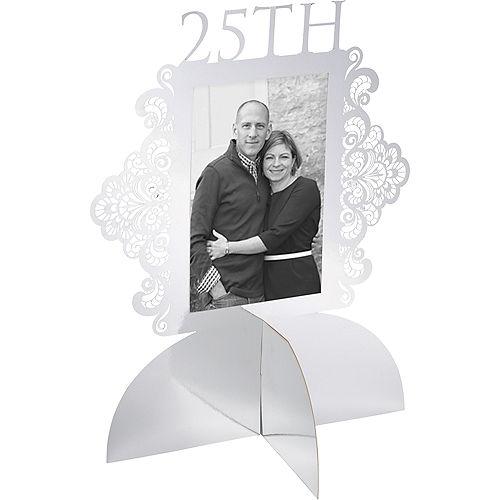 Customizable Metallic Silver 25th Anniversary Photo Centerpiece Image #1