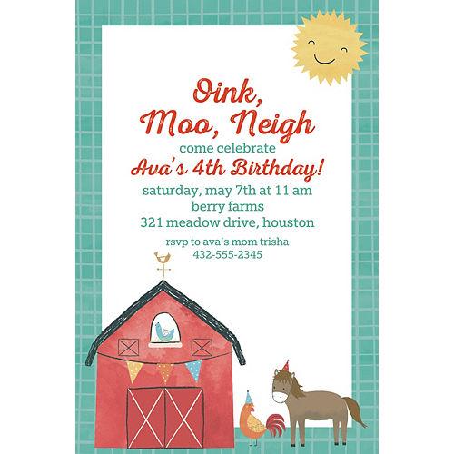 Custom Barnyard Birthday Invitations Image #1