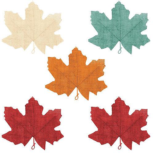 Painted Fall Burlap Leaves 5ct Image #1