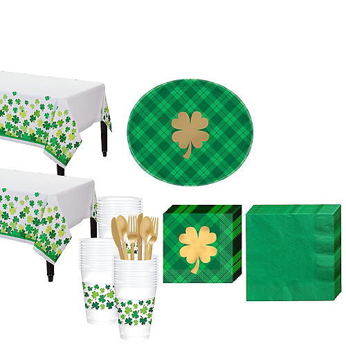 St. Patrick's Day Plaid Tableware Kit for 36 Guests Image #1