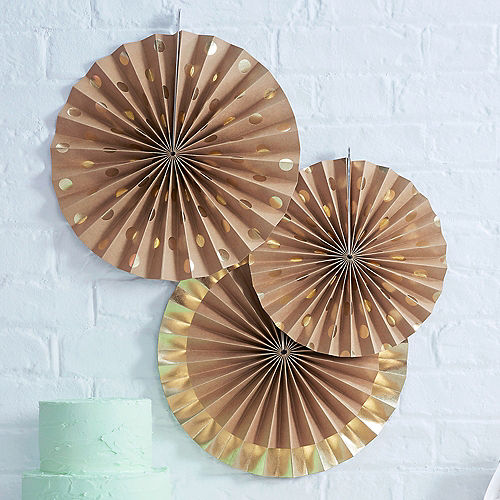 Ginger Ray Metallic Gold Kraft Paper Fan Decorations 3ct Image #1