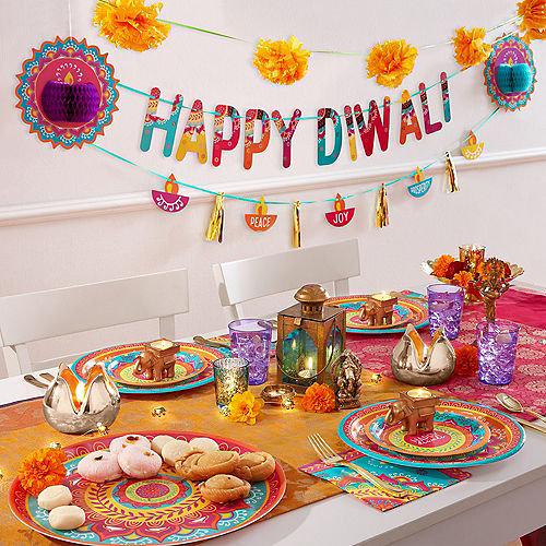 Metallic Gold Happy Diwali Letter Banner with Cutout Banner Image #2
