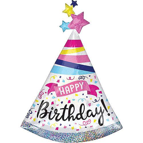 Giant Prismatic Birthday Hat Balloon Image #1