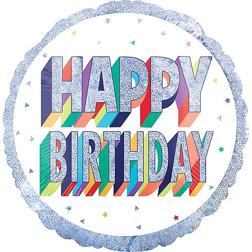 Giant Prismatic Rainbow Birthday Balloon Image #1