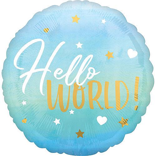 Metallic Gold, Blue & White Hello World Balloon Image #1