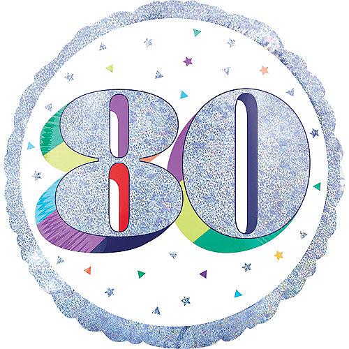 Prismatic Rainbow 80th Birthday Balloon Image #1