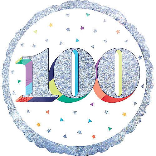 Prismatic Rainbow 100th Birthday Balloon Image #1