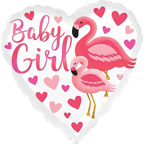 Flamingo Baby Girl Heart Balloon, 17in Image #1