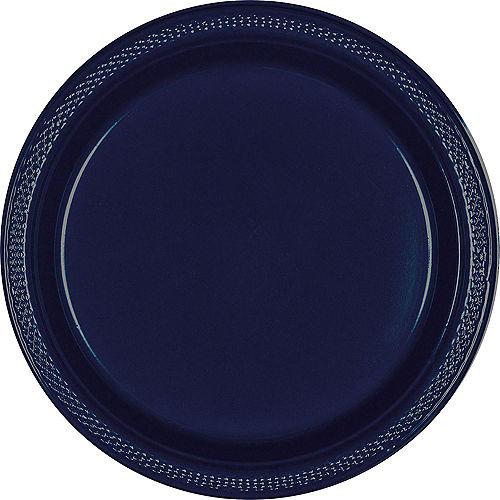 True Navy Blue Plastic Dinner Plates 20ct Image #1