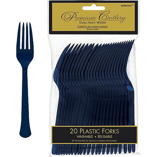 True Navy Blue Premium Plastic Forks 20ct Image #1