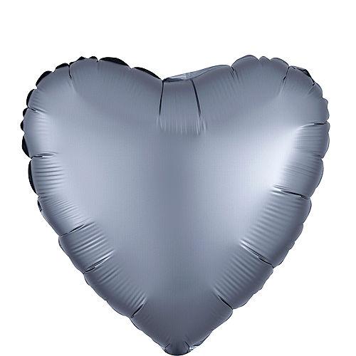 17in Graphite Satin Heart Balloon Image #1