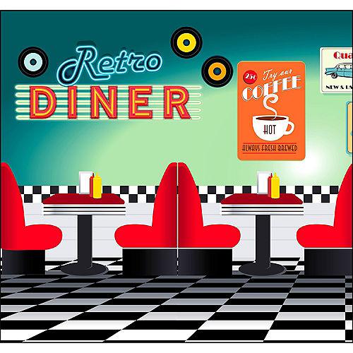 50s Retro Diner Backdrop Standee 2pc Image #1