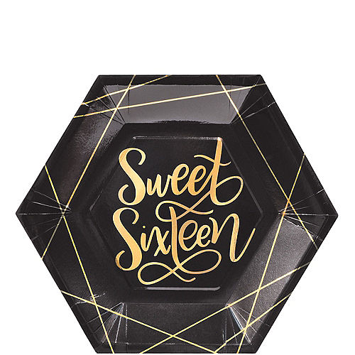 Elegant Sweet 16 Dinner Plates 8ct Image #1