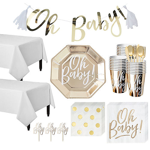 Oh Baby Baby Shower Tableware Kit for 32 Guests Image #1