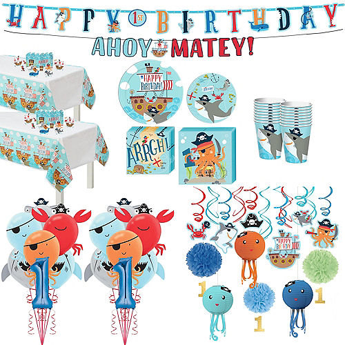 Super Pirate Shark 1st Birthday Party Kit for 36 Guests Image #1