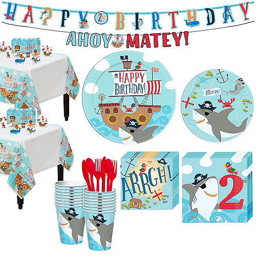 Pirate Shark 2nd Birthday Tableware Kit for 18 Guests Image #1