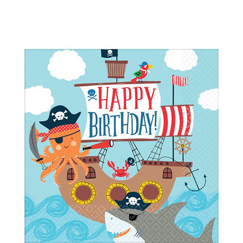Pirate Shark 3rd Birthday Tableware Kit for 18 Guests Image #5