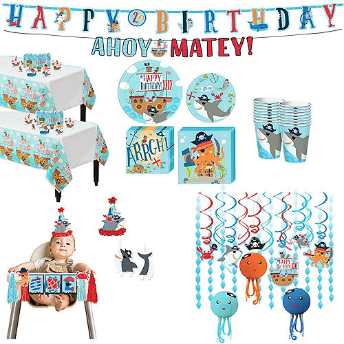 Ultimate Pirate Shark 1st Birthday Party Kit for 36 Guests Image #1