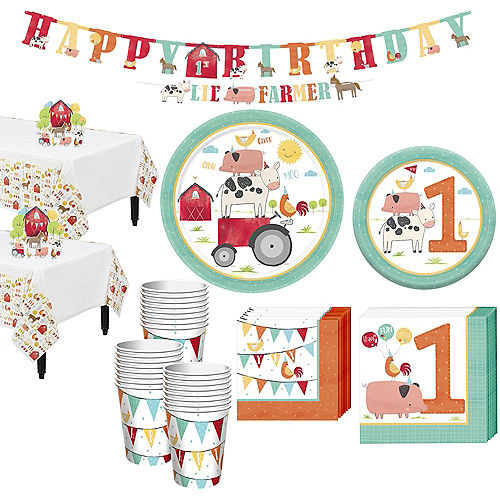 Friendly Farm 1st Birthday Tableware Kit for 36 Guests Image #1