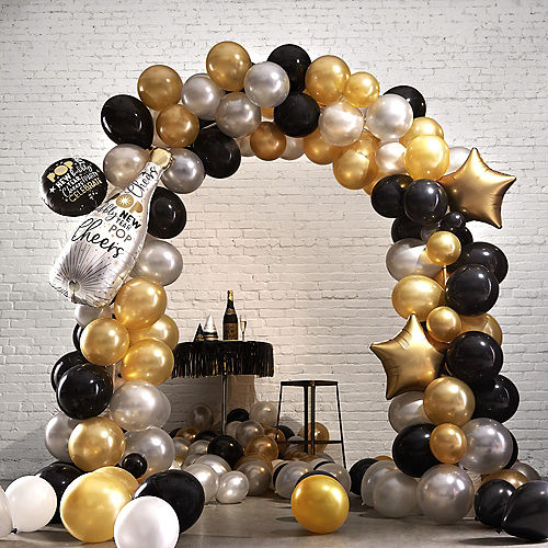 Air-Filled Black, Gold & Silver New Year's Eve Balloon Arch Kit Image #1