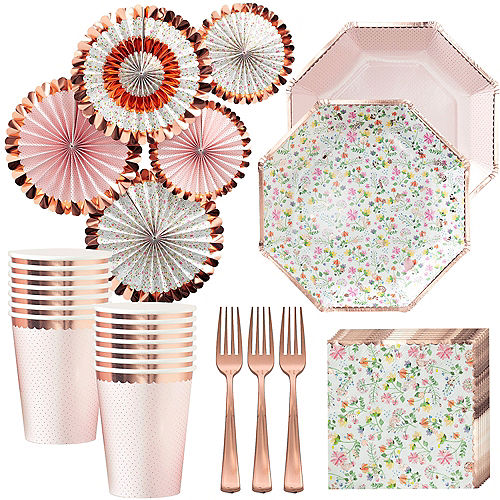 Ginger Ray Floral & Rose Gold Party Kit for 16 Guests Image #1